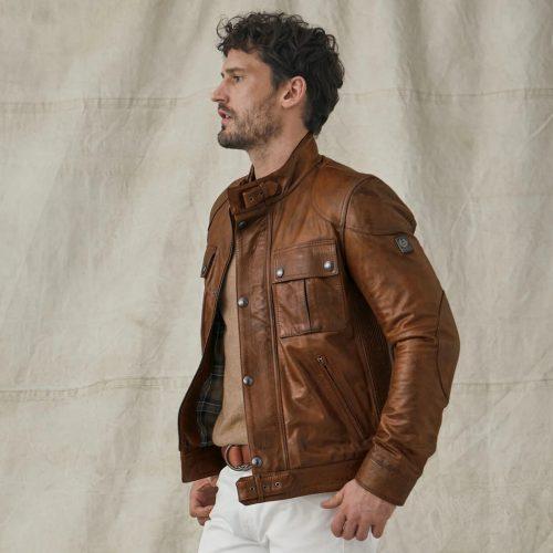 MensBelstaff Gangster 2.0 Jacket in Brown Leather