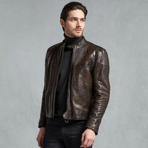 MensBelstaff Supreme Motorcycle Jacket in Brown Leather