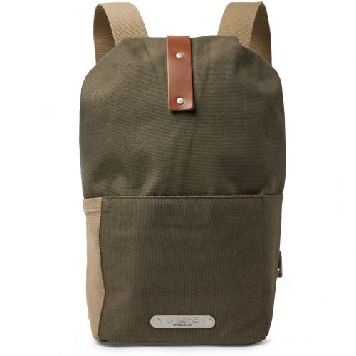 Mens Brooks England Dalston Small Leather-trimmed Canvas Backpack in Green