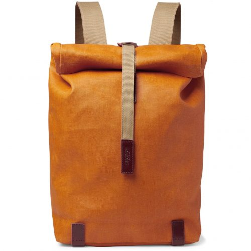 Mens Brooks England Pickwick Large Leather-trimmed Coated Cotton-canvas Backpack in Orange