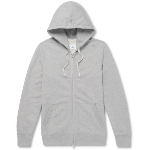 Mens Reigning Champ Slim-fit Mélange Loopback Cotton-jersey Zip-up Hoodie in Grey