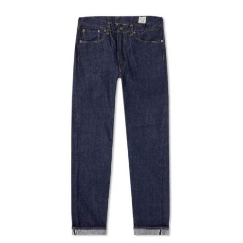 Mens orSlow 107 Ivy League Slim Selvedge Denim Jeans in One Wash Blue