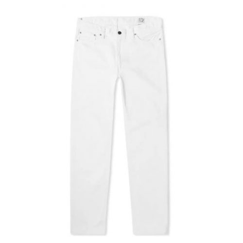 Mens orSlow 107 Ivy League Slim Selvedge Denim Jeans in White