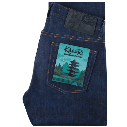 Mens Naked and Famous Denim Kasuri Stretch Weird Guy Selvedge Jeans in Indigo