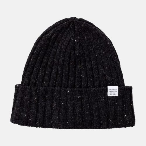 Mens Norse Projects Twist Beanie Hat in Charcoal Melange Grey