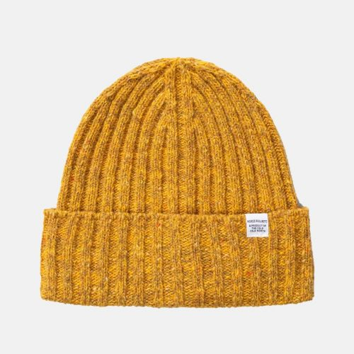 Mens Norse Projects Neps Beanie Hat in Mustard Yellow