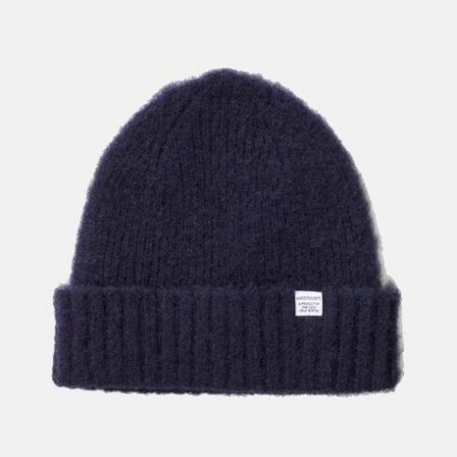 Mens Norse Projects Rib Beanie Hat in Dark Navy Lambswool