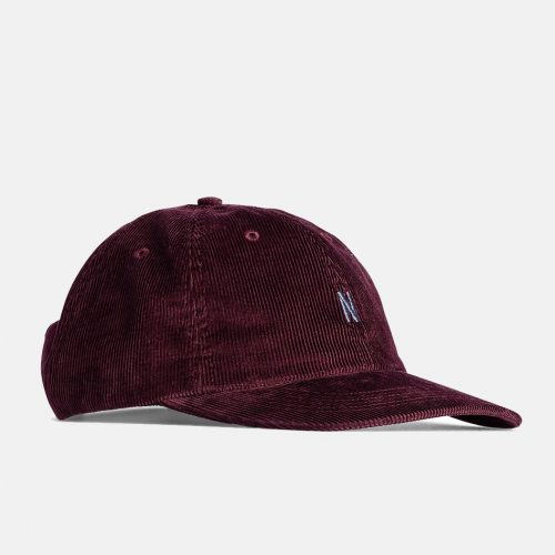 Mens Norse Projects Thin Cord Sports Cap in Mulberry Red