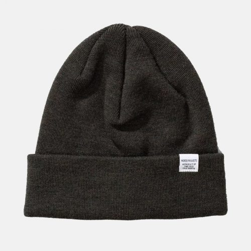 Mens Norse Projects Top Beanie Hat in Beech Green