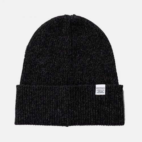 Mens Norse Projects Twist Beanie Hat in Charcoal Melange
