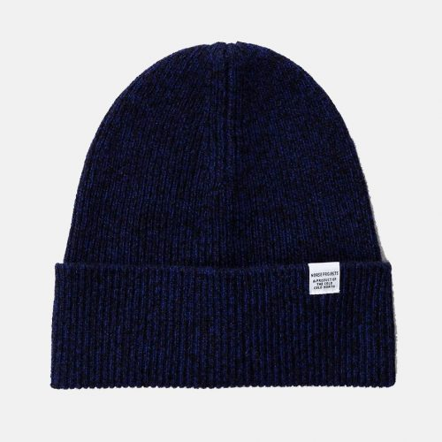 Mens Norse Projects Twist Beanie Hat in Dark Navy Blue