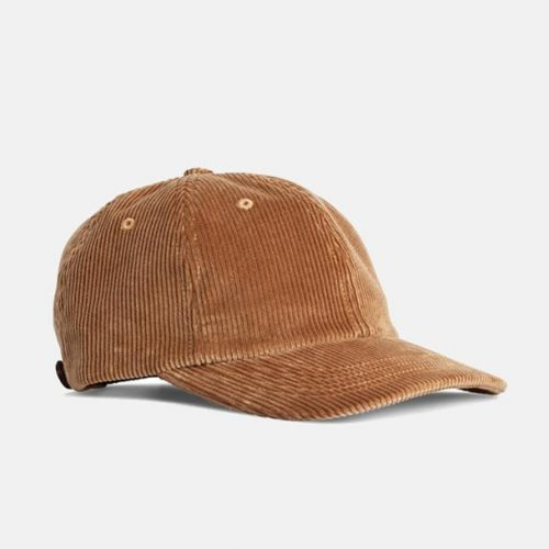 Mens Norse Projects Wide Wale Cord Cap in Khaki Beige