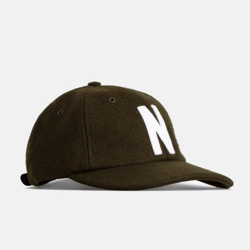 Mens Norse Projects Wool Sports Cap in Beech Green