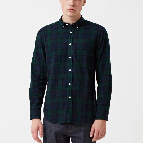 Mens Portuguese Flannel Bonfim Checked Shirt in Navy Blue / Green