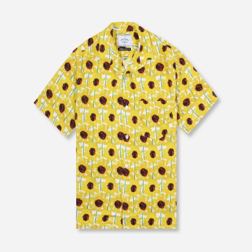 MensPortuguese Flannel Daisy Short Sleeve Shirt in Yellow Print