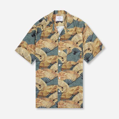 MensPortuguese Flannel Fukuse Short Sleeve Shirt in Grey Print