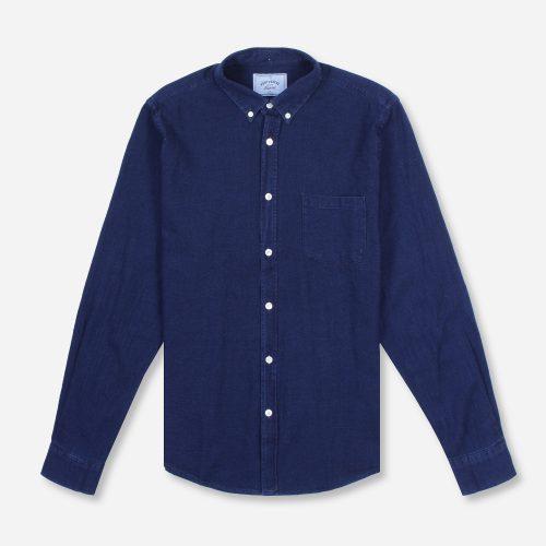 MensPortuguese Flannel Indigo Long Sleeve Shirt in Blue