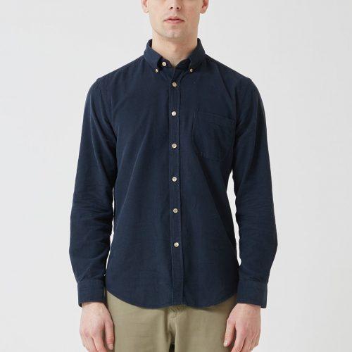 Mens Portuguese Flannel Lobo Shirt in Navy Blue
