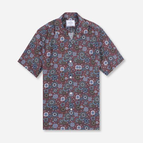 MensPortuguese Flannel Mandala Short Sleeve Shirt in Blue Print