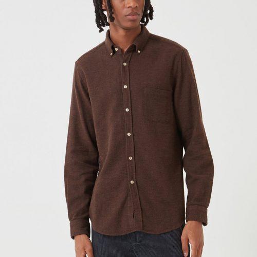 MensPortuguese Flannel Teca Shirt in Brown