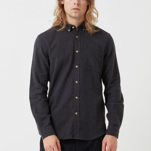 MensPortuguese Flannel Teca Shirt in Charcoal Grey