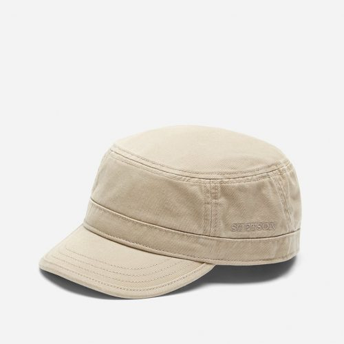 Mens Stetson Hatteras Gosper Cotton Army Cap in Beige