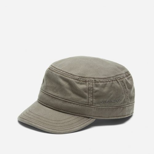 Mens Stetson Cotton Army Cap in Olive Green