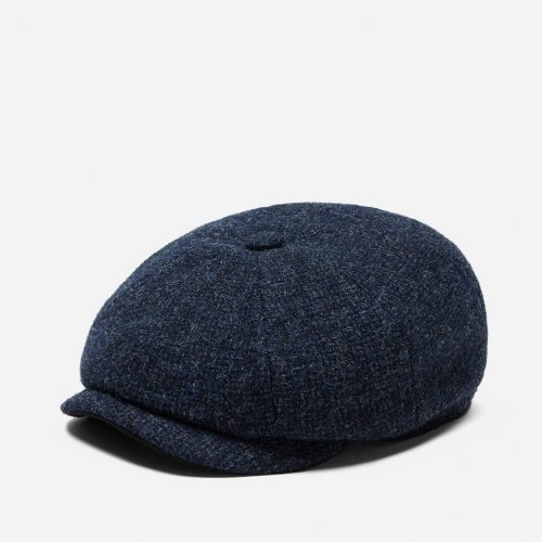 Mens Stetson Hatteras Cross Hatch Newsboy Cap in Blue Wool