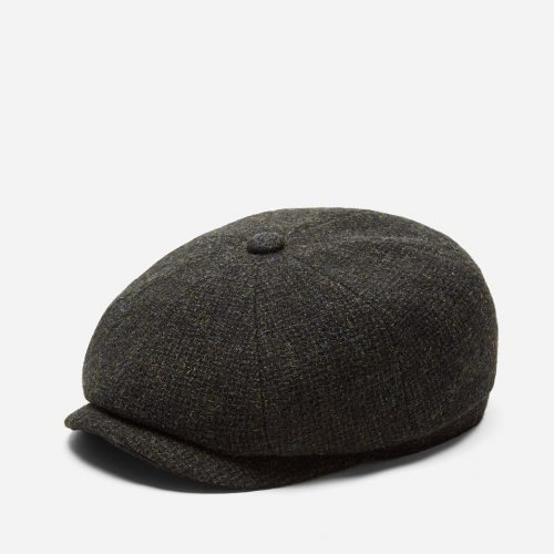 Mens Stetson Hatteras Cross Hatch Newsboy Cap in Brown Wool