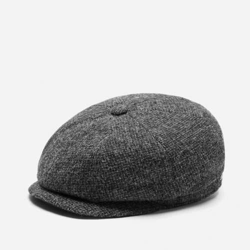 Mens Stetson Hatteras Cross Hatch Newsboy Cap in Grey Wool