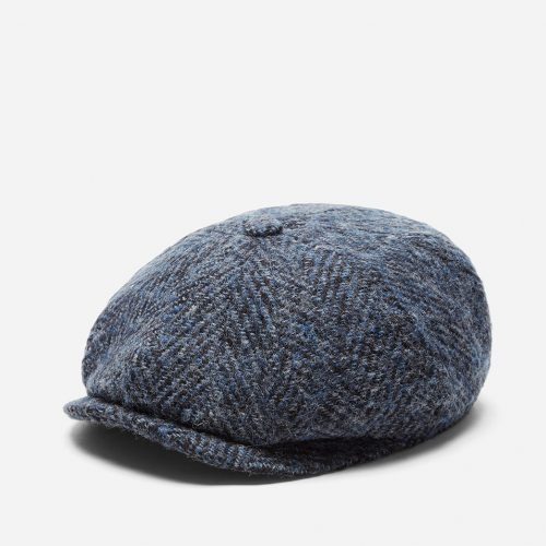 Mens Stetson Hatteras Herringbone Newsboy Cap in Blue Wool