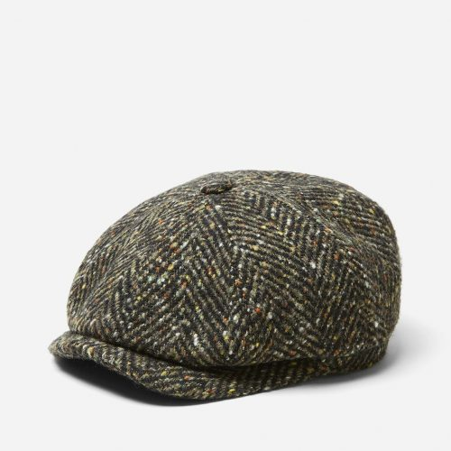 Mens Stetson Hatteras Herringbone Newsboy Cap in Green Wool
