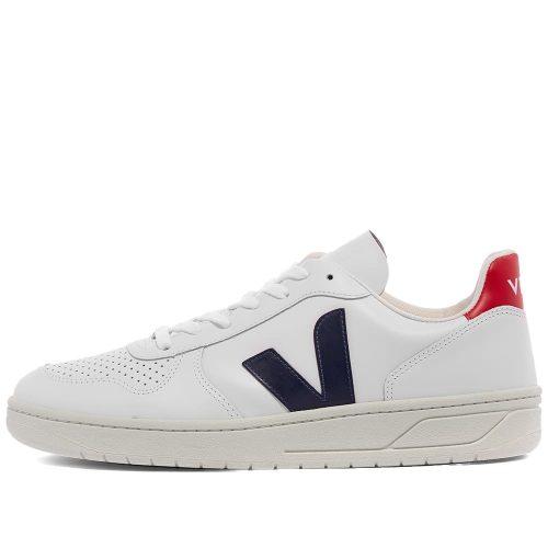 MensVeja V-10 Leather Basketball Sneakers in White, Red & Navy