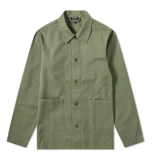 Mens A.P.C. Kerlouan Work Jacket in Dark Green