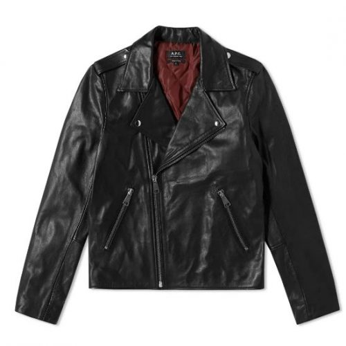 Mens A.P.C. Uno Perfecto Leather Biker Jacket in Black