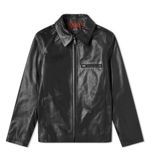 Mens A.P.C. Leather Riders Jacket in Black