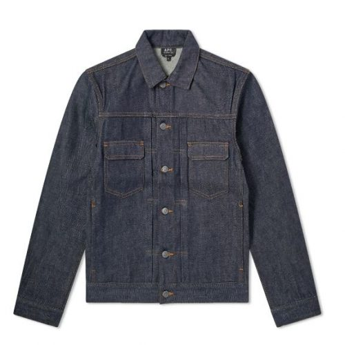 Mens A.P.C. Work Jean Jacket in Raw Indigo Denim