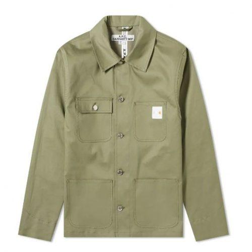 MensA.P.C. x Carhartt WIP Mishiguene Jacket in Khaki Green