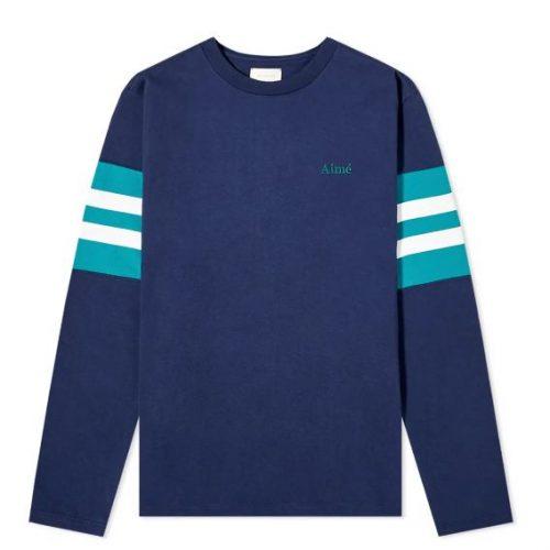 MensAime Leon Dore Collegiate Long Sleeve T-Shirt in Maritime Blue