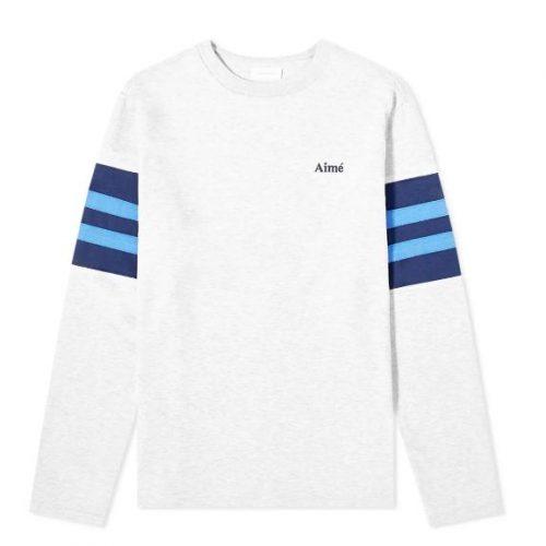 MensAime Leon Dore Collegiate Long Sleeve T-Shirt in Heather Grey