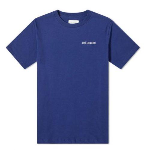 MensAime Leon Dore Jersey Logo T-Shirt in Flag Navy
