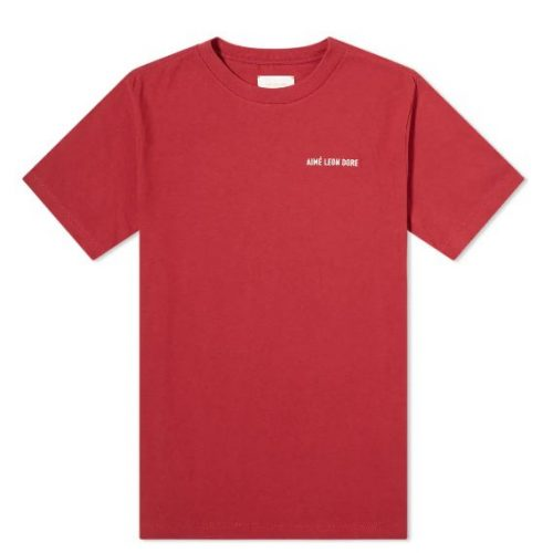 MensAime Leon Dore Jersey Logo T-Shirt in Berry Red