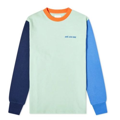 MensAime Leon Dore Long Sleeve Colour Block T-Shirt in Meadow Multi