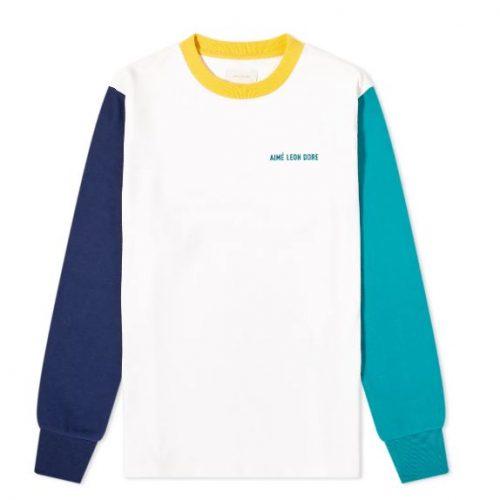 MensAime Leon Dore Long Sleeve Colour Block T-Shirt in White Multi