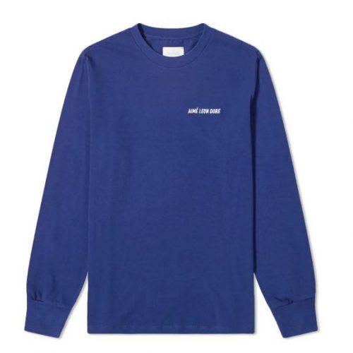 MensAime Leon Dore Long Sleeve Jersey Logo T-Shirt in Flag Navy