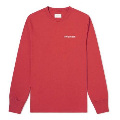 MensAime Leon Dore Long Sleeve Jersey Logo T-Shirt in Wine Red