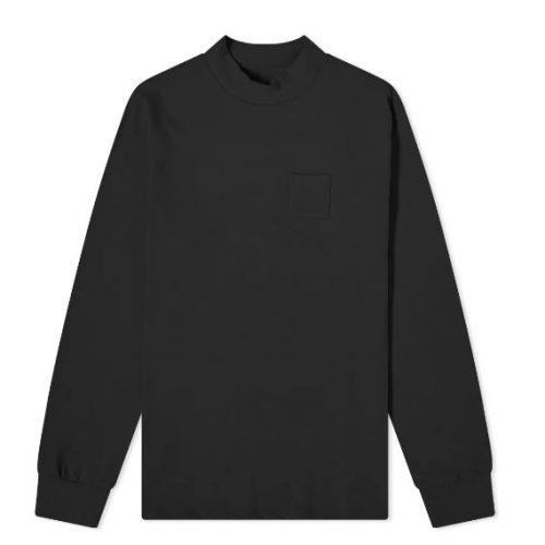 MensAime Leon Dore Mock Neck Dimebag Long Sleeve T-Shirt in Black