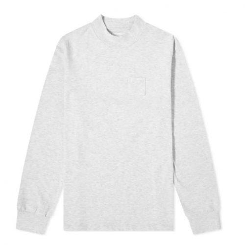 MensAime Leon Dore Mock Neck Dimebag Long Sleeve T-Shirt in Heather Grey