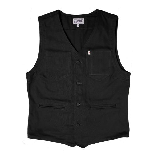 Mens &SONS Trading Co Lincoln Waistcoat Vest in Black