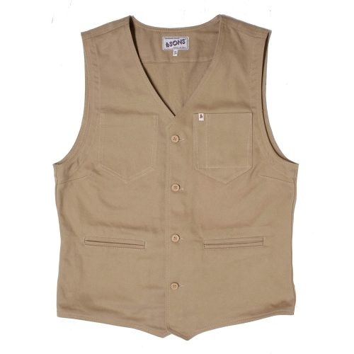 Mens &SONS Trading Co Lincoln Waistcoat Vest in Tan